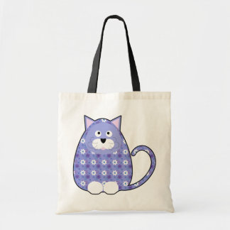 Floral Calico Kitty Blue Bag
