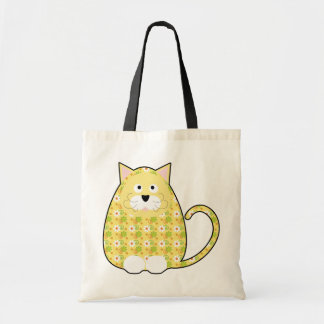 Floral Calico Kitty Yellow Bag