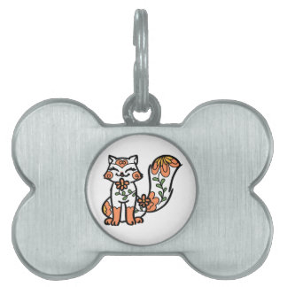 Floral Calico Pet ID Tag