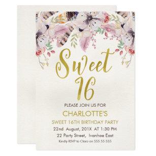 boho sweet 16 invitations zazzle