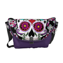 Floral candy skull messenger bag