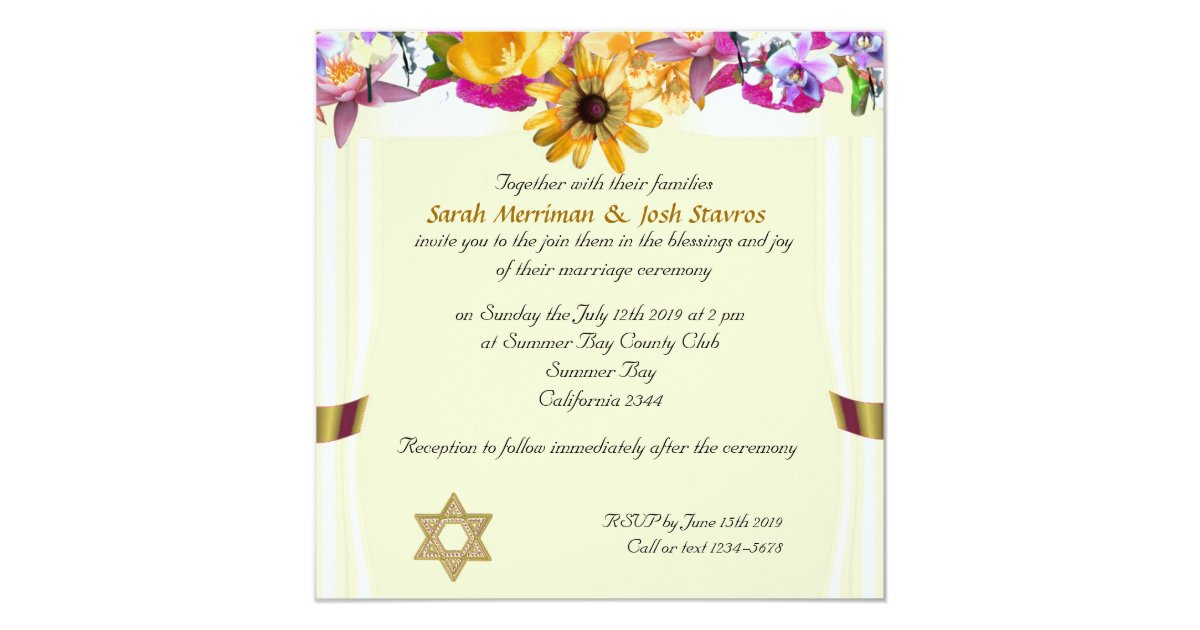 Floral canopy Jewish wedding Invitation | Zazzle.com