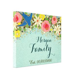 floral canvas,family name,family est. canvas print