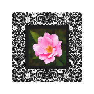 Floral Canvas Print Pink Rose Retro BW Single