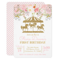 Floral Carousel Pink and Gold Girl Birthday Invitation