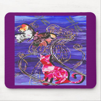 Floral Cat and Butterfly Mousepad