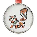 Floral Cat Metal Ornament