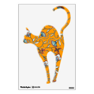 Floral Cat Yellow Wall Decal