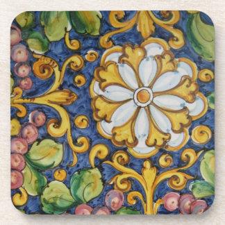 Floral ceramic style coaster