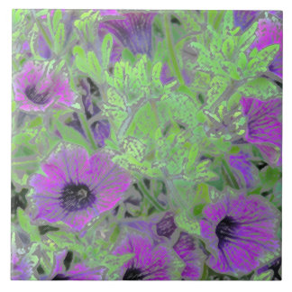 FLORAL CERAMIC TILE/PURPLE PETUNIAS/PAINTERLY EFFE CERAMIC TILE