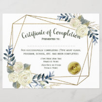 Floral Certificate of Completion, Customize 8.5x11