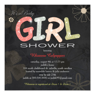 Floral Chalkboard Baby Girl Baby Shower Invitation