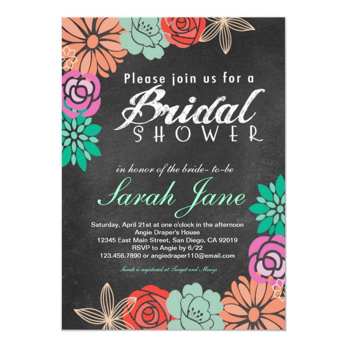 Floral chalkboard bridal shower invitation zazzle for How to make bridal shower invitations