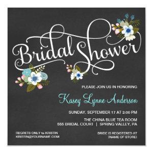 Floral Chalkboard Bridal Shower Invitations 5.25