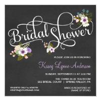 Chalkboard bridal shower invitations announcements zazzle floral chalkboard bridal shower invitations filmwisefo Choice Image