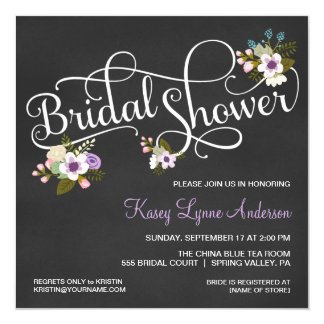 Floral Chalkboard Bridal Shower Invitations