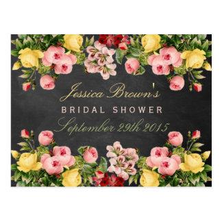 Floral Chalkboard Bridal Shower Recipe Cards Postcard