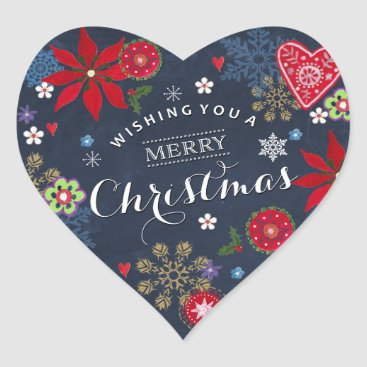 Christmas Themed Floral Chalkboard Christmas | Heart Sticker