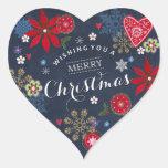 Floral Chalkboard Christmas | Round Sticker
