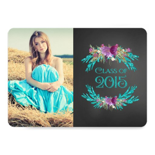 Floral Chalkboard Class of 2015 Graduation Cards