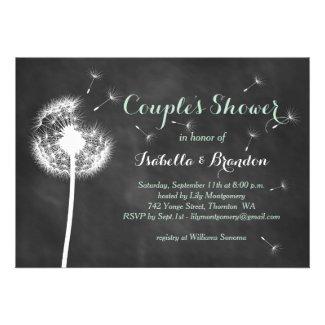 Floral Chalkboard Couple's Shower Invite (mint)