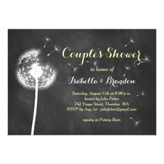 Floral Chalkboard Couple's Shower Invite (yellow)