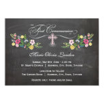 Floral Chalkboard  |  First Communion Invitations