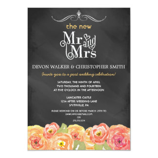 "Floral Chalkboard Post Wedding Party Invitation 4.5"" X 6.25"" Invitation Card"