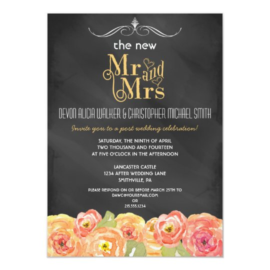 Floral Chalkboard Post Wedding Party Invitation