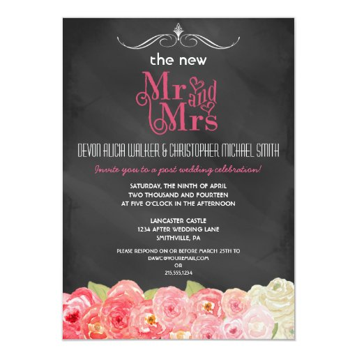 floral chalkboard post wedding party invitation zazzle On post wedding party invitations
