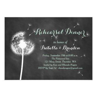 Floral Chalkboard Rehearsal Dinner Invite (mint)
