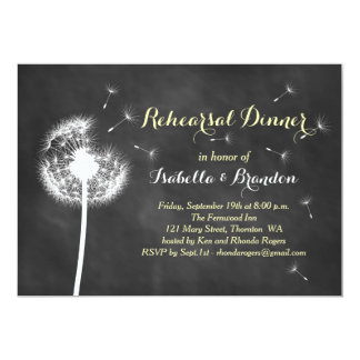 Floral Chalkboard Rehearsal Dinner Invite (yellow)