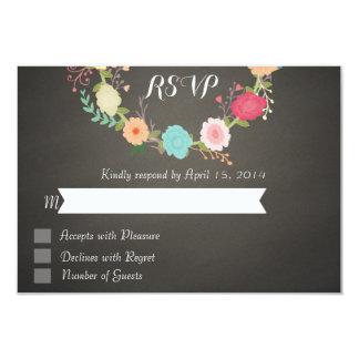 Floral chalkboard RSVP Cards
