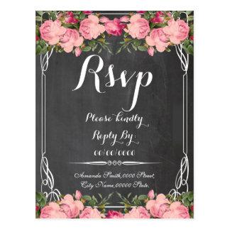 floral chalkboard rsvp,response card
