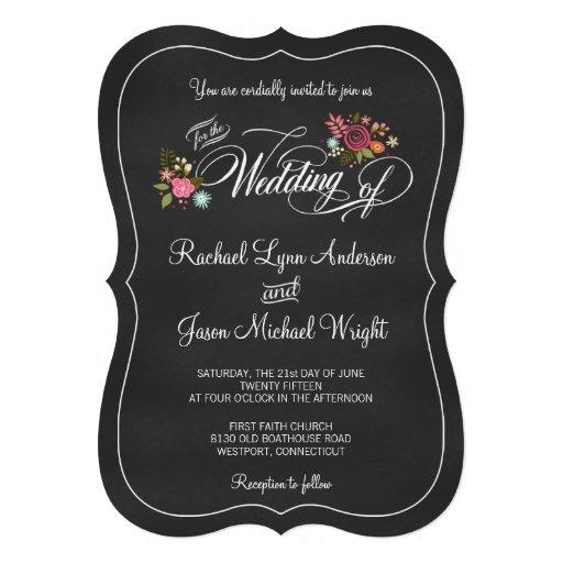 Floral Chalkboard Rustic Wedding Invitations