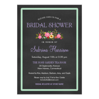 Floral Chalkboard Style Bridal Shower Invitations