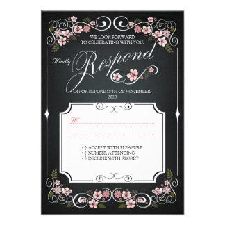Floral Chalkboard Vintage Bold Wedding RSVP Personalized Invites