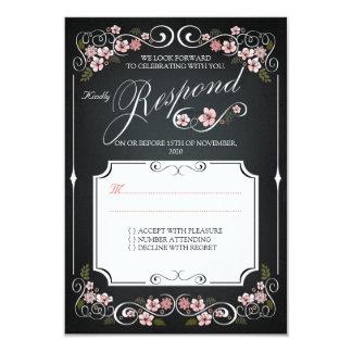 Floral Chalkboard Vintage Bold Wedding RSVP 3.5x5 Paper Invitation Card