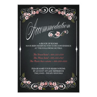 Floral Chalkboard Vintage Wedding Accomodation Personalized Announcement