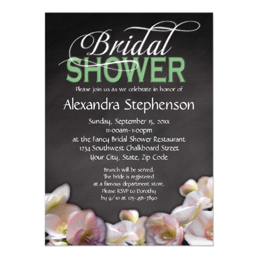 Floral & Chalkboard w/Green Bridal Shower Announcements