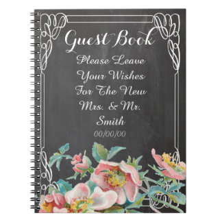 floral chalkboard wedding guest book note books