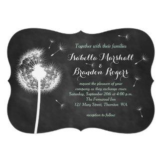 Floral Chalkboard Wedding Invitation (mint)