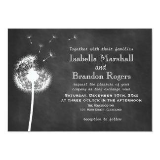Floral Chalkboard Wedding Invite (white) Announcements
