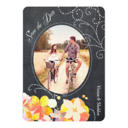 Floral Chalkboard Wedding Photo Save the Date Card