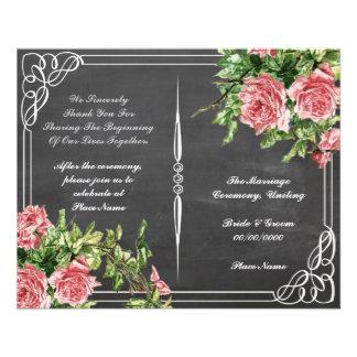 floral chalkboard wedding program