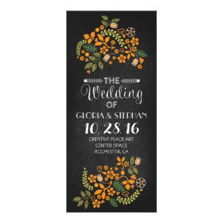 floral chalkboard wedding program cards rack cards