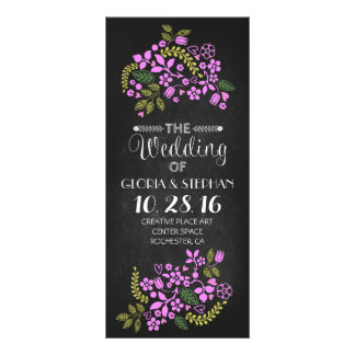 floral chalkboard wedding program cards personalized rack card