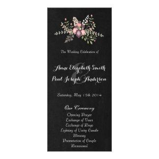 Floral & Chalkboard wedding program VI