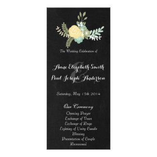 Floral & Chalkboard wedding program VII
