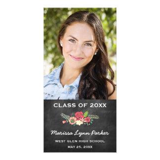 Floral Chalked Graduation Announcement Photo Card